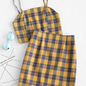 Smocked Back Cami Plaid Skirt Set